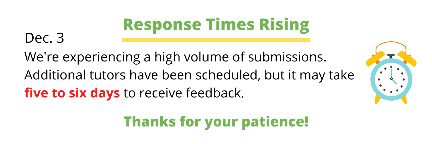 Increased response times - we're experiencing a high volume of submissions. At this time it may take three days to receive feedback. Thanks for your patience.